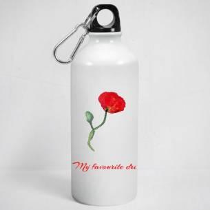 botella metal con amapola roja